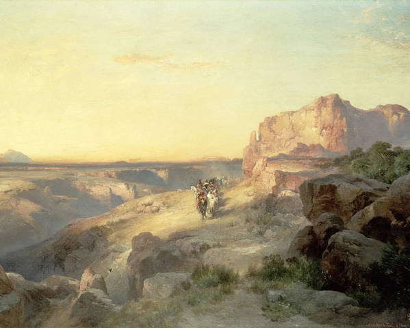 Thomas Moran Poster featuring the painting Red Rock Trail by Thomas Moran