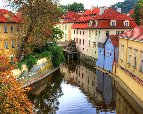 Prague water Wheel Architecture Travel Poster featuring the photograph Red Roofs Of Prague by Jay Lee
