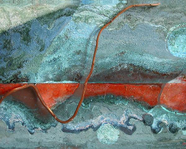 Photopainting Poster featuring the digital art Red Shape by Helga Schmitt