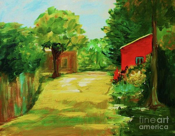 Landscape Poster featuring the painting Red Shed by Julie Lueders