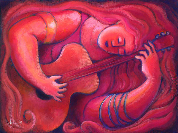 Guitar Poster featuring the painting Red Sings The Blues Painting 43 by Angela Treat Lyon