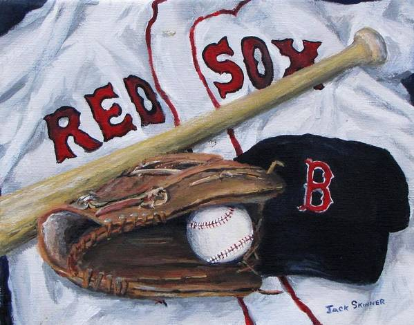Red Sox Poster featuring the painting Red Sox Number Six by Jack Skinner