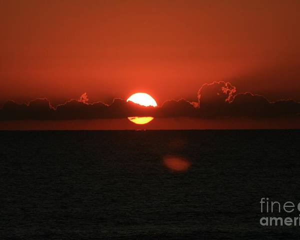 Sunset Poster featuring the photograph Red Sunset Over The Atlantic by Nadine Rippelmeyer