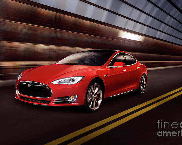 Tesla Poster featuring the photograph Red Tesla Model S Red Luxury Electric Car Speeding In A Tunnel by Maxim Images Prints