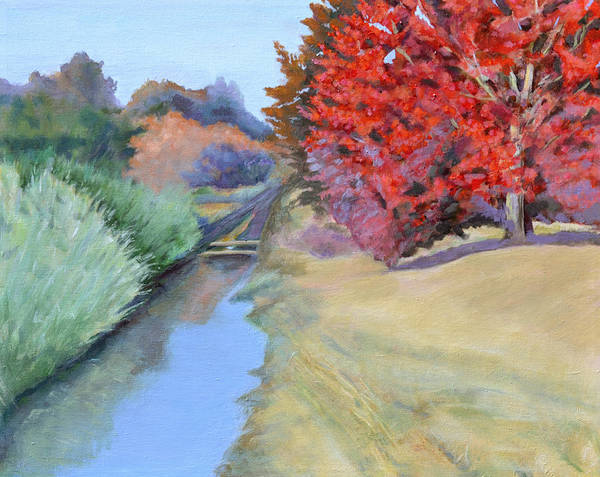 Landscape Poster featuring the painting Red Tree and River by Mary Chant
