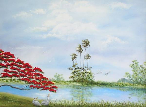 Landscape Poster featuring the painting Red Tree by Dennis Vebert