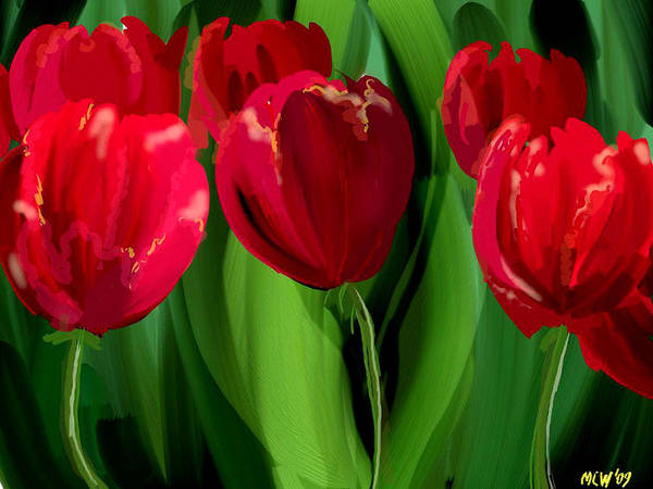 Flower Poster featuring the digital art Red Tulips by Margaret Wingstedt