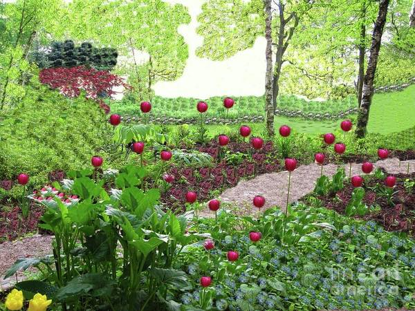 Red Tulips Garden. Poster featuring the painting Red Tulips by Nereida Slesarchik Cedeno Wilcoxon