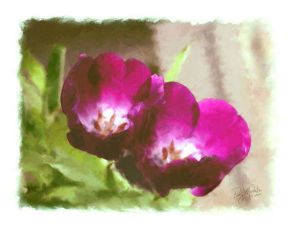Flower Poster featuring the digital art Red Tulips by Patty Muchka