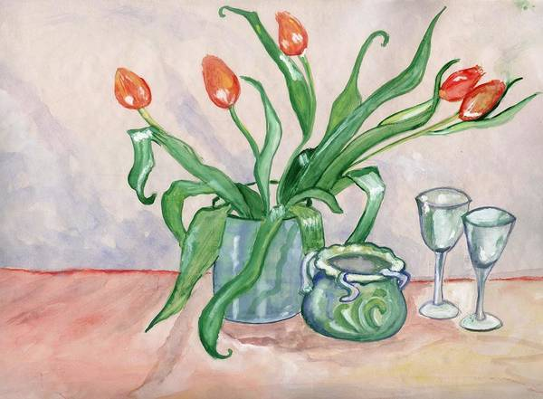 Red Poster featuring the painting Red tulips still life by Manjiri Kanvinde