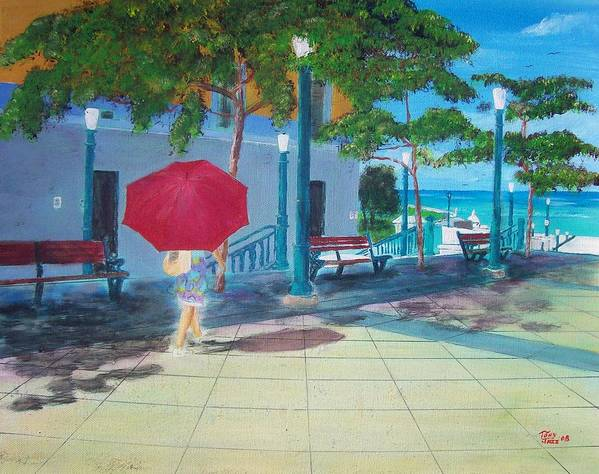 Landscapes Poster featuring the painting Red Umbrella In San Juan by Tony Rodriguez