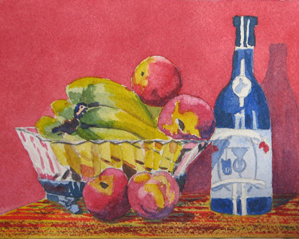 Fruit Poster featuring the painting Red Wall Blue Wine by Libby Cagle