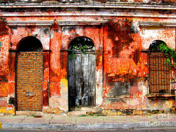 Darian Day Poster featuring the photograph Red Wall By Darian Day by Mexicolors Art Photography