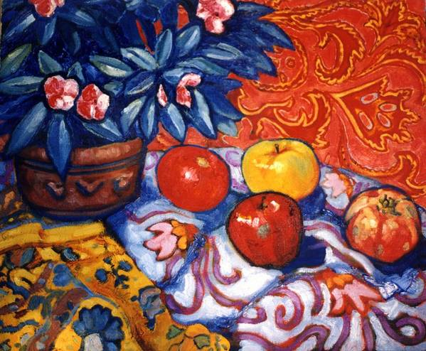 Still Life Poster featuring the painting Red Wallpaper by Paul Herman
