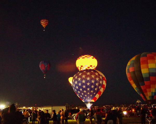 Hot Air Balloons Poster featuring the photograph Red, White, And Blue by Mike Wheeler