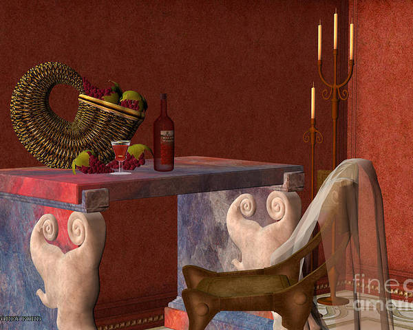 Still Life Poster featuring the painting Red Wineglass by Corey Ford