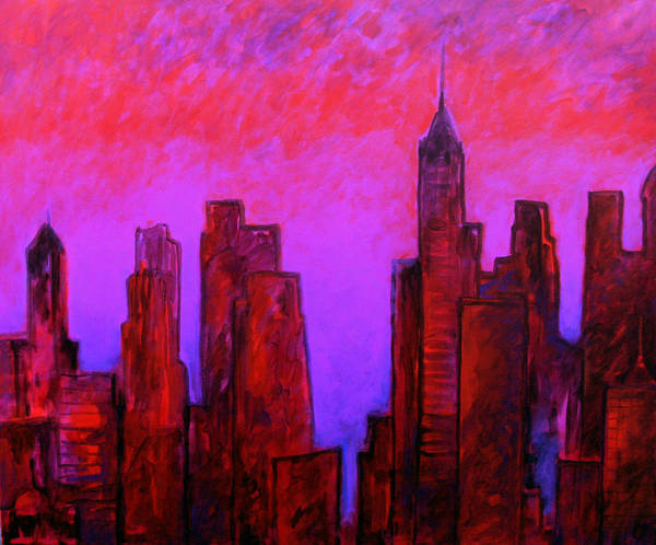 Red Poster featuring the painting Redhot City by David Soong