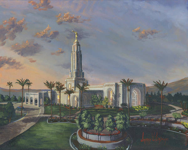 Redlands Poster featuring the painting Redlands Temple by Jeff Brimley