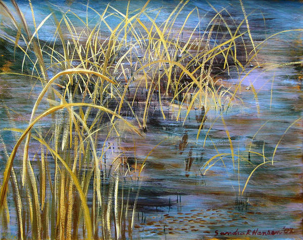 Reeds Poster featuring the painting Reeds In The Water by Art Nomad Sandra Hansen