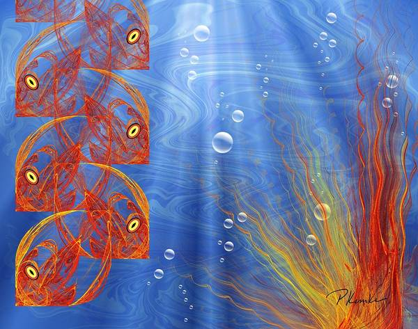 Orange Poster featuring the digital art Reef by Patricia Kemke