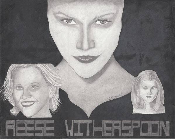Reese Poster featuring the drawing Reese Witherspoon by Tara Kearce