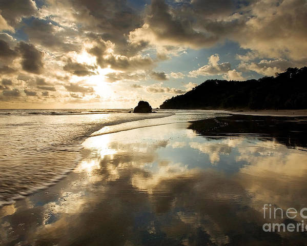 Beach Poster featuring the photograph Reflected Costa Rica Sunset by Matt Tilghman