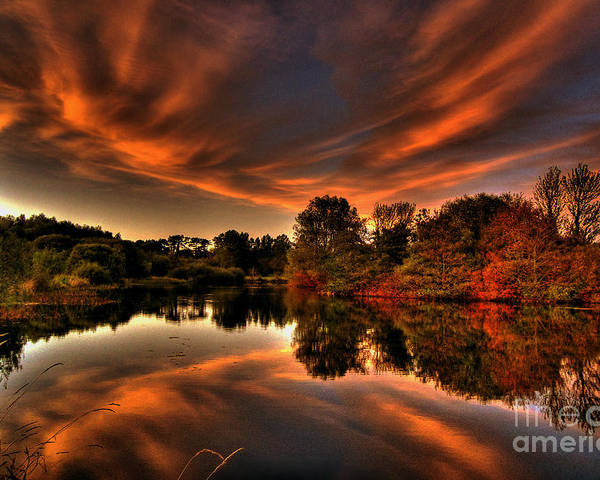Sunset In Ireland Pictures Poster featuring the photograph Reflecting Autumn by Kim Shatwell-Irishphotographer