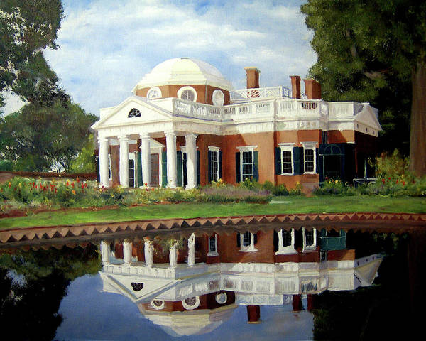 Monticello Poster featuring the painting Reflecting On Jefferson by J Luis Lozano