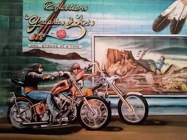 Motorcycle Art Poster featuring the painting Reflections by DC Houle