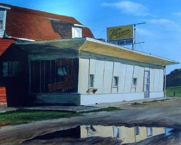 Landscape Poster featuring the painting Reflections Of A Diner by William Brody