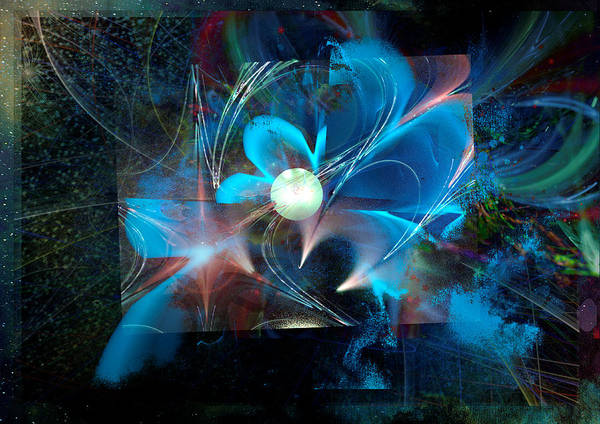 Spiritual Poster featuring the digital art Reflections Of A Flower In The Moonlight by ReeNee Cummins
