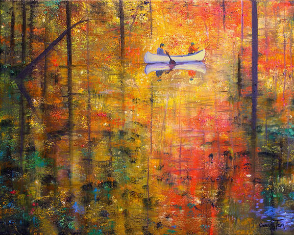 Connie Tom Poster featuring the painting Reflections Of Autumn X by Connie Tom