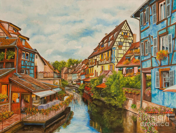 Colmar France Paris Poster featuring the painting Reflections Of Colmar by Charlotte Blanchard