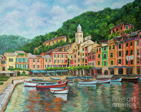 Portofino Italy Art Poster featuring the painting Reflections Of Portofino by Charlotte Blanchard