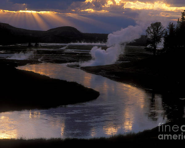 Yellowstone National Park Poster featuring the photograph Reflections On The Firehole River by Sandra Bronstein