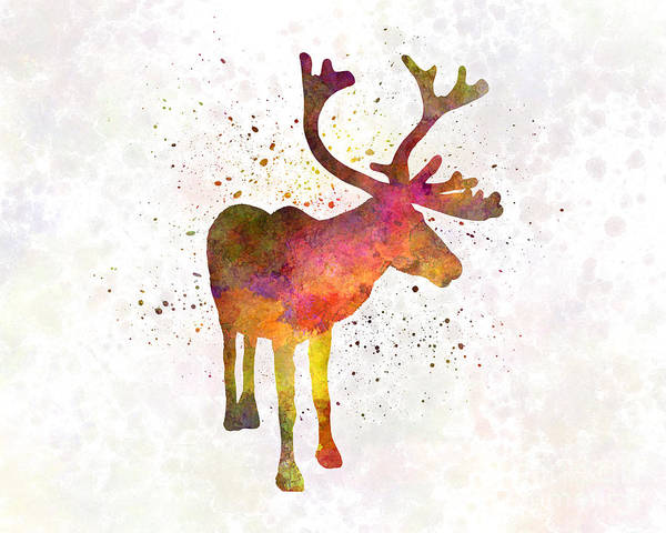 Reindeer Poster featuring the painting Reindeer 02 In Watercolor by Pablo Romero