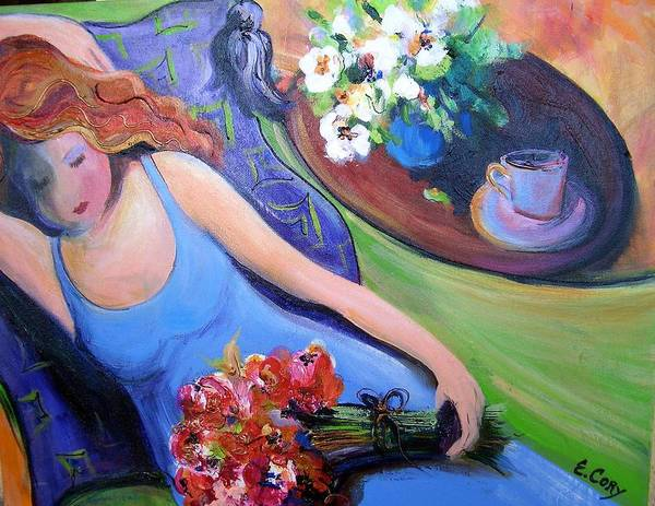 Woman Poster featuring the painting Relaxation In Blue by Elaine Cory