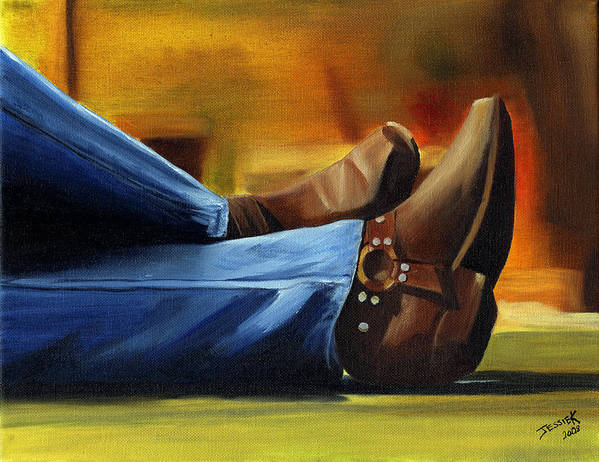 Portrait Poster featuring the painting Relaxing by Jessica Krogstadt