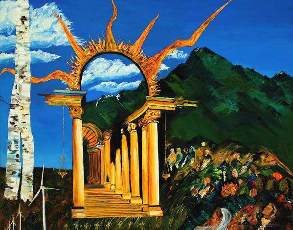 Climategate Poster featuring the painting Religion And Nature by Gregory Allen Page