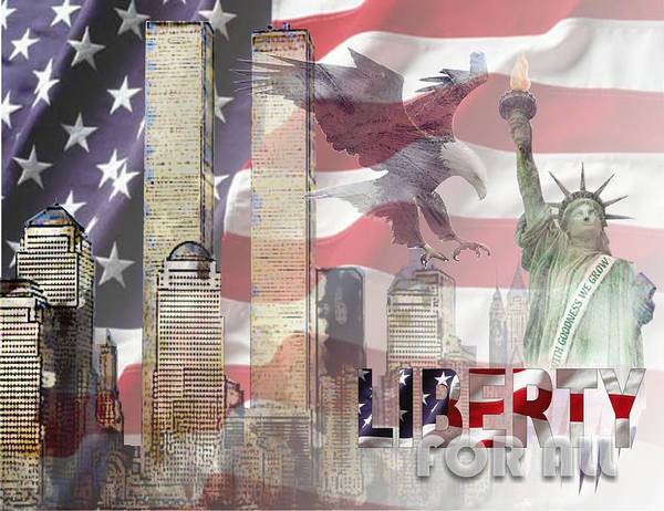 9/11 Poster featuring the digital art Remembering 9-ll by Arline Wagner