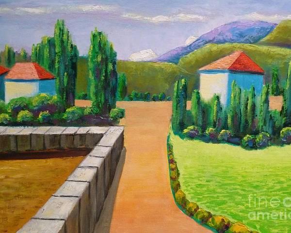 Landscape Poster featuring the painting Remote by Ushangi Kumelashvili