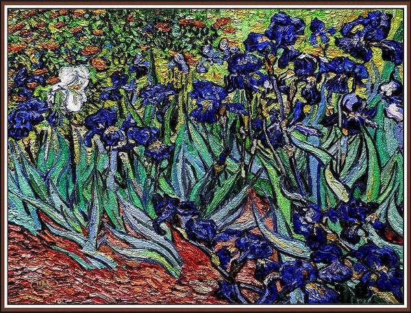 Still Life Poster featuring the digital art replica of Van Gogh irises by Pemaro