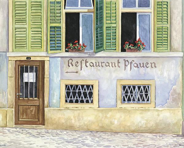 Restaurant Poster featuring the painting Restaurant Pfauen by Scott Nelson