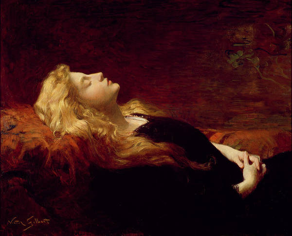 Resting (oil On Canvas) By Victor Gabriel Gilbert (1847-1933) Poster featuring the painting Resting by Victor Gabriel Gilbert