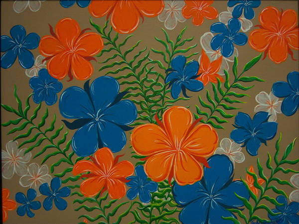 Acrylic Painting Poster featuring the painting Retro Flowers by Vicki Berchtold