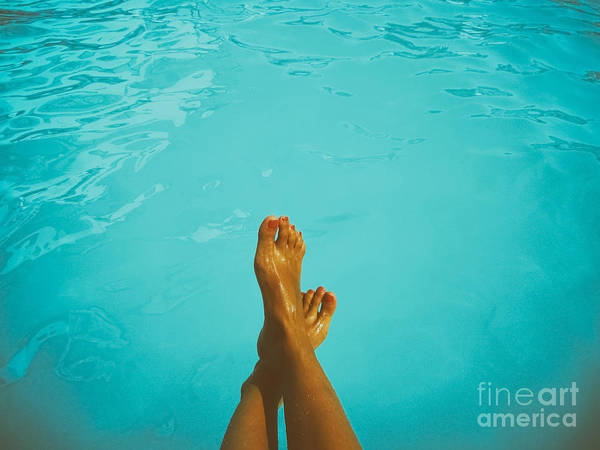 Retro Young Girl Relaxing Her Feet At Swimming Pool Poster