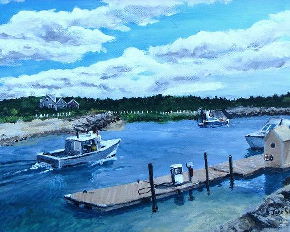 Seascape Poster featuring the painting Returning To Sesuit Harbor by Jack Skinner