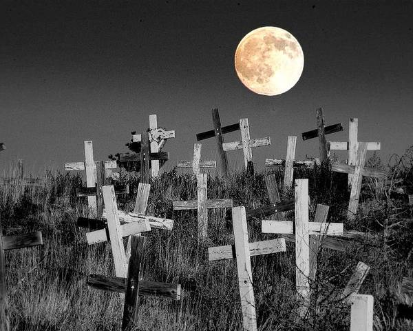 Cemetary Poster featuring the photograph Reverent Moonlight.... by Al Swasey