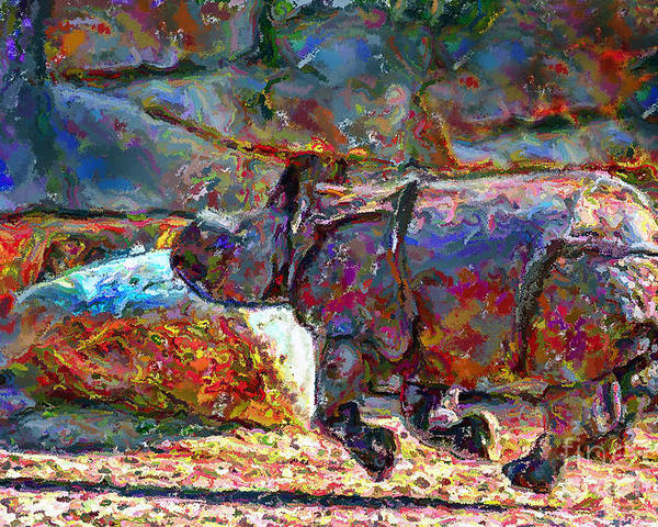 Animals Poster featuring the digital art Rhino On The Run by Marilyn Sholin