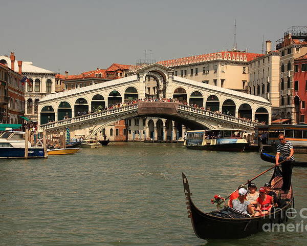 Venice Poster featuring the photograph Rialto Bridge In Venice With Gondola by Michael Henderson